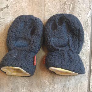 Dark grey Sherpa thumbless baby mittens